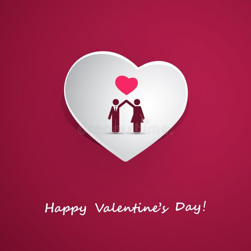 Valentin dag eller bröllopkortdesign med par vektor illustrationer