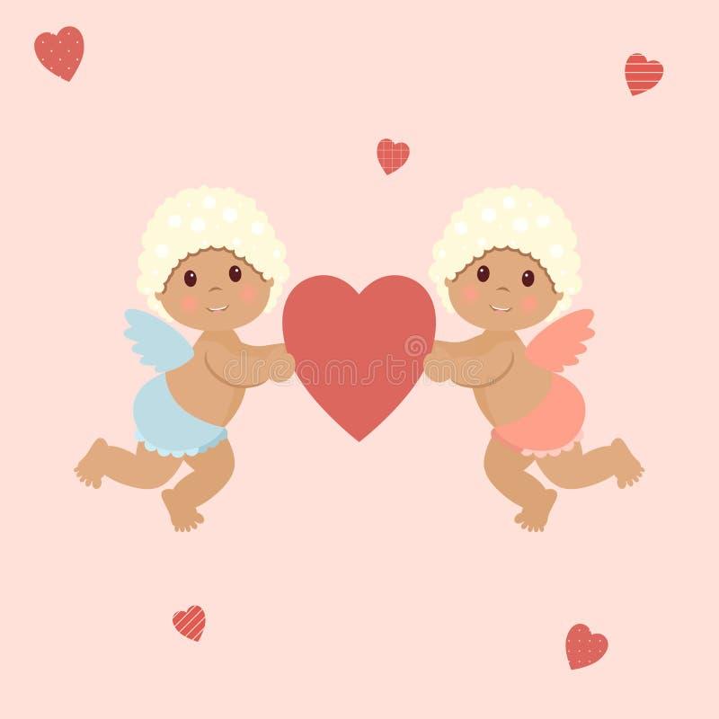 Valentin dag: gulliga små kupidon pojke och flicka som rymmer en röd hjärta på en rosa bakgrund som omges av original- hjärtor royaltyfri illustrationer