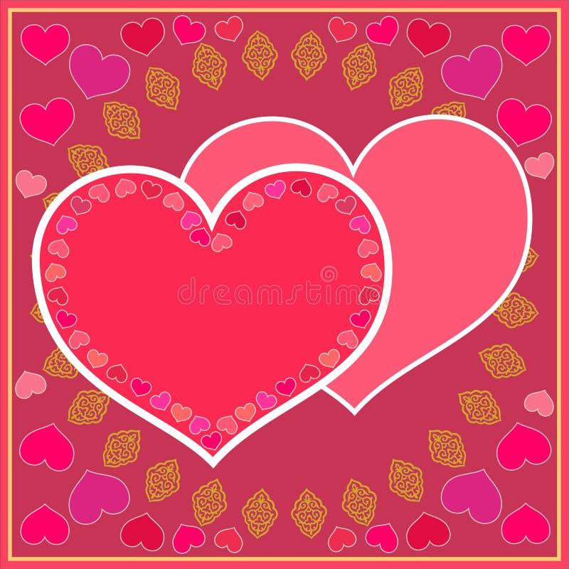 Valentin dag! härligt rött kort med hjärtor royaltyfri illustrationer