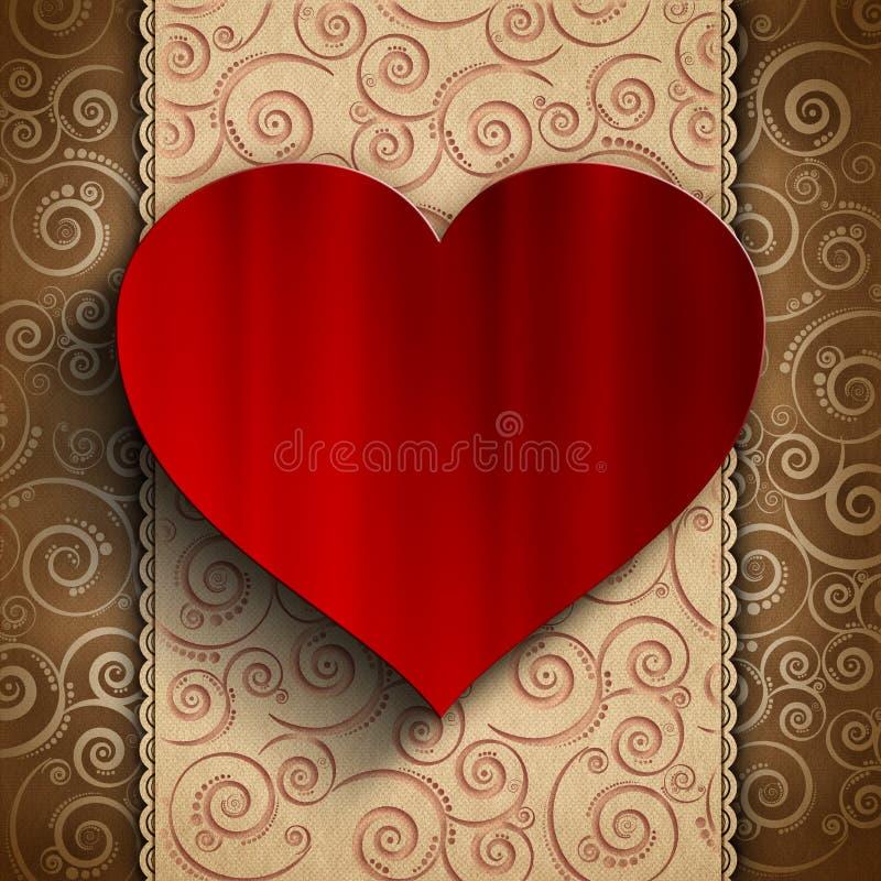 Valentin dag - hjärta på mönstrad bakgrund stock illustrationer