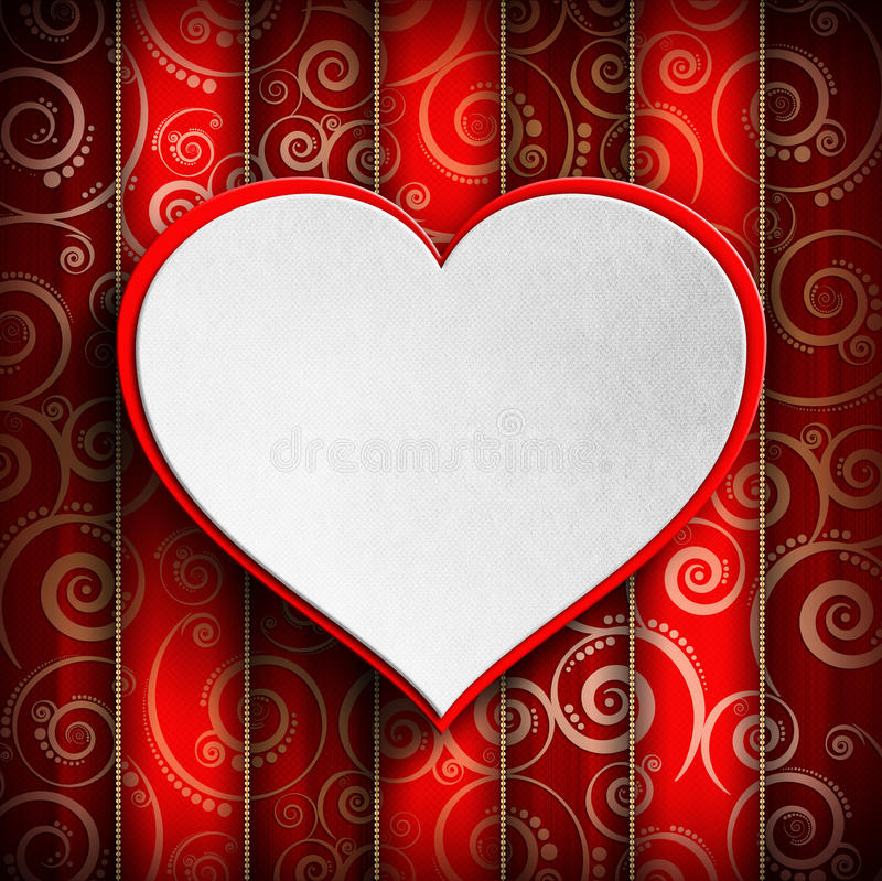 Valentin dag - hjärta på mönstrad bakgrund vektor illustrationer