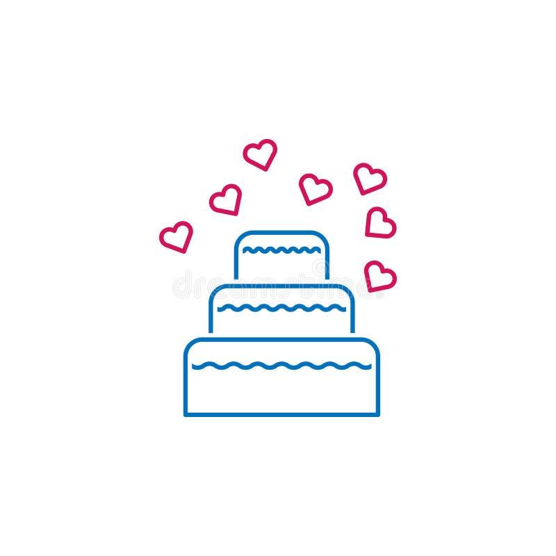 Valentin dag, kaka, hjärtasymbol Kan användas för rengöringsduken, logoen, den mobila appen, UI, UX stock illustrationer