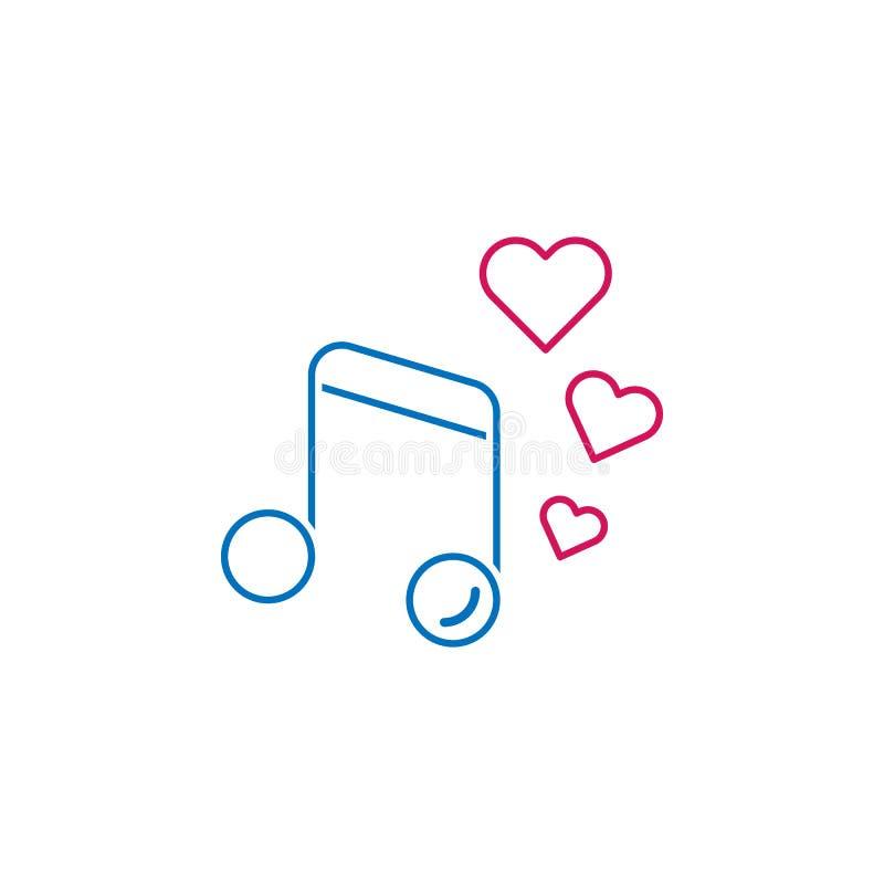 Valentin dag, musik, hjärtasymbol Kan användas för rengöringsduken, logoen, den mobila appen, UI, UX stock illustrationer