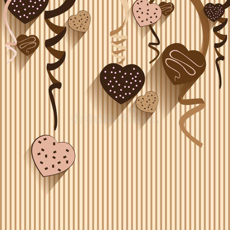 Valentin dag- och hjärtachoklad på färgrik bakgrund Vektorpartichoklad och full hjärta på färgrik bakgrund royaltyfri bild