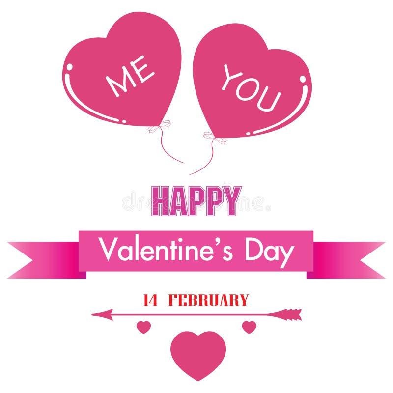 Valentin dag och rosa färghjärta som isoleras på vit bakgrund Du och jag gick tillsammans stock illustrationer