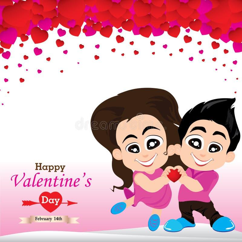 Valentin dag och vänner på vit bakgrund Vektorvalentin dag på vit och rosa bakgrund stock illustrationer