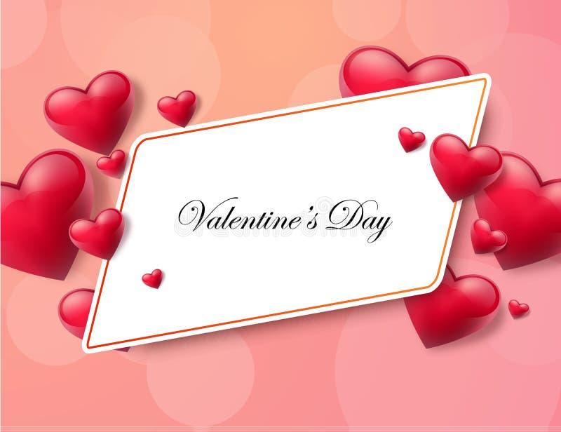Valentin dagbakgrund med textboxen och härliga hjärtor också vektor för coreldrawillustration vektor illustrationer