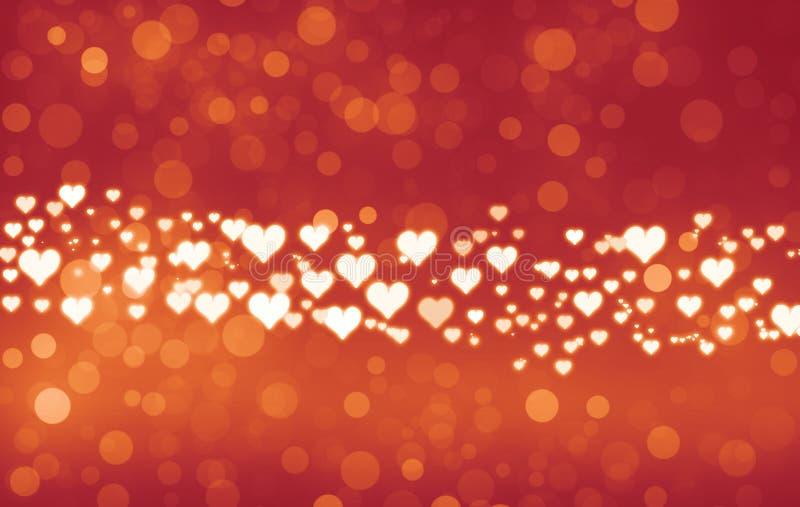 Valentin dagbakgrund Vibrerande skinande hjärtor på älskvärd bokehbakgrund royaltyfri illustrationer