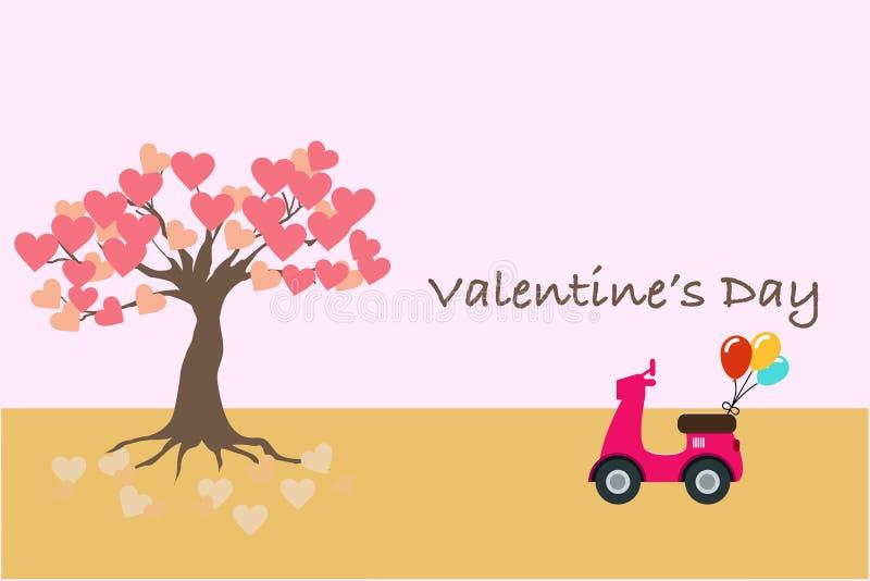 Valentin dagbaner eller kort med en motorcykel och trädet av förälskelse royaltyfri bild