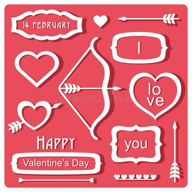Download Valentin dagbeståndsdelar stock illustrationer. Illustration av baner - 37349673