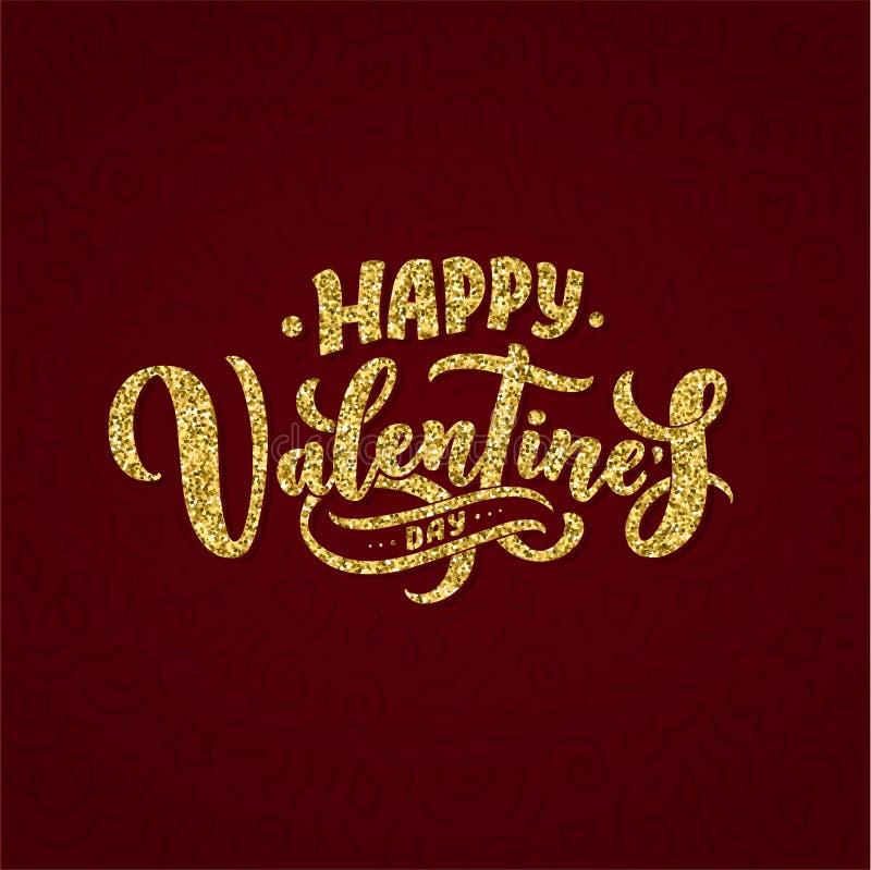 Valentin dagbokstäver för hälsningkortdesignen, romantisk illustration festlig garnering Svart inbjudankort för artikel med ensam royaltyfri illustrationer