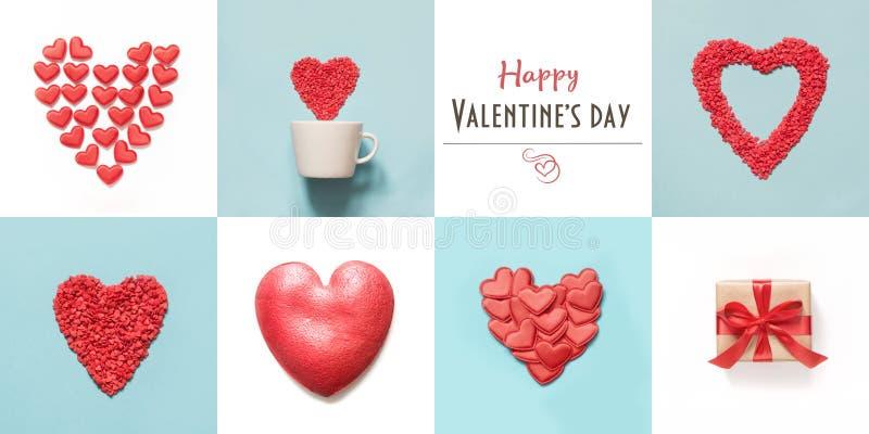 Valentin dagcollage för kort med hjärtaform- och gåvaaskar på blått och vitt royaltyfri foto