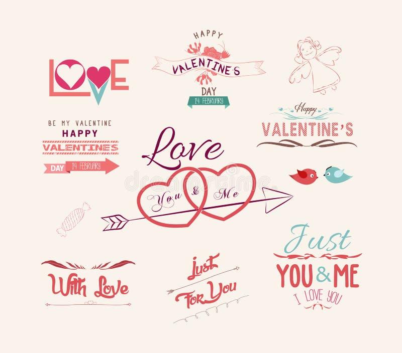 Valentin dagdesign, etiketter, symbolsbeståndsdelsamling stock illustrationer