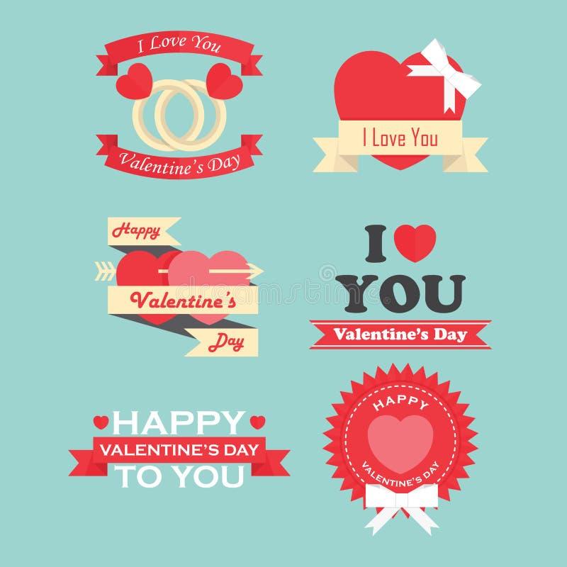 Valentin dagetiketter, symbolsbeståndsdelar och emblemsamling vektor illustrationer
