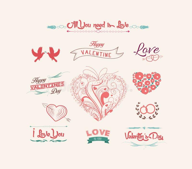 Valentin dagetiketter, symbolsbeståndsdelsamling royaltyfri illustrationer