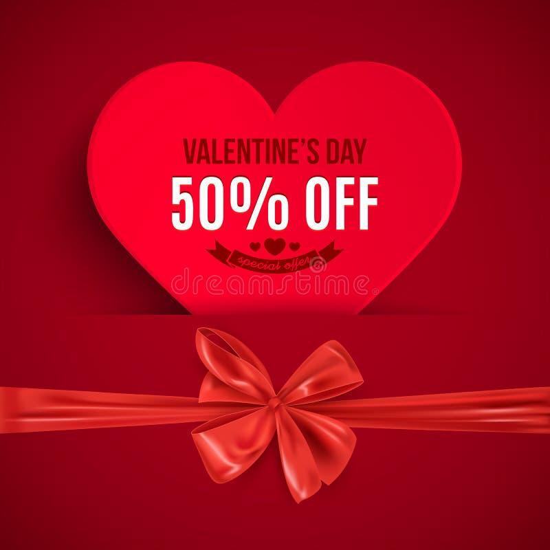 Valentin dagförsäljning, hjärtaform och röd bandpilbåge, annonseringbaner, vektorillustration stock illustrationer