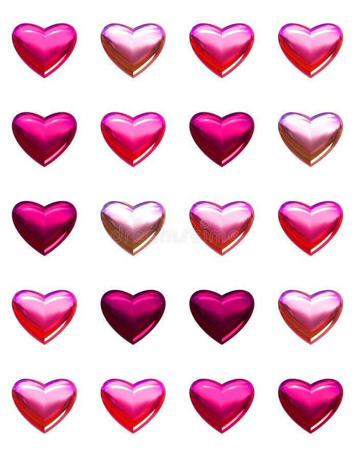 Valentin daghjärtor som isoleras på vit. stock illustrationer