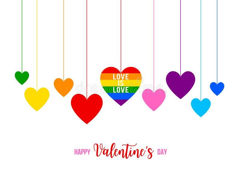 Valentin dagkort med färgrika regnbågehjärtor, vektor vektor illustrationer