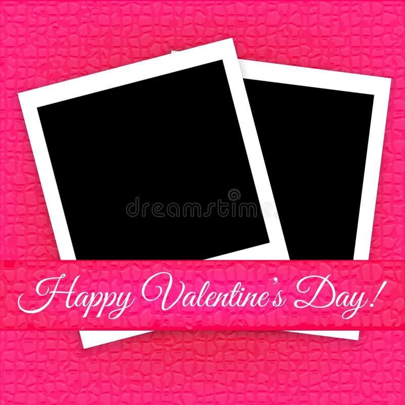Valentin dagkort med fotoramar royaltyfri illustrationer