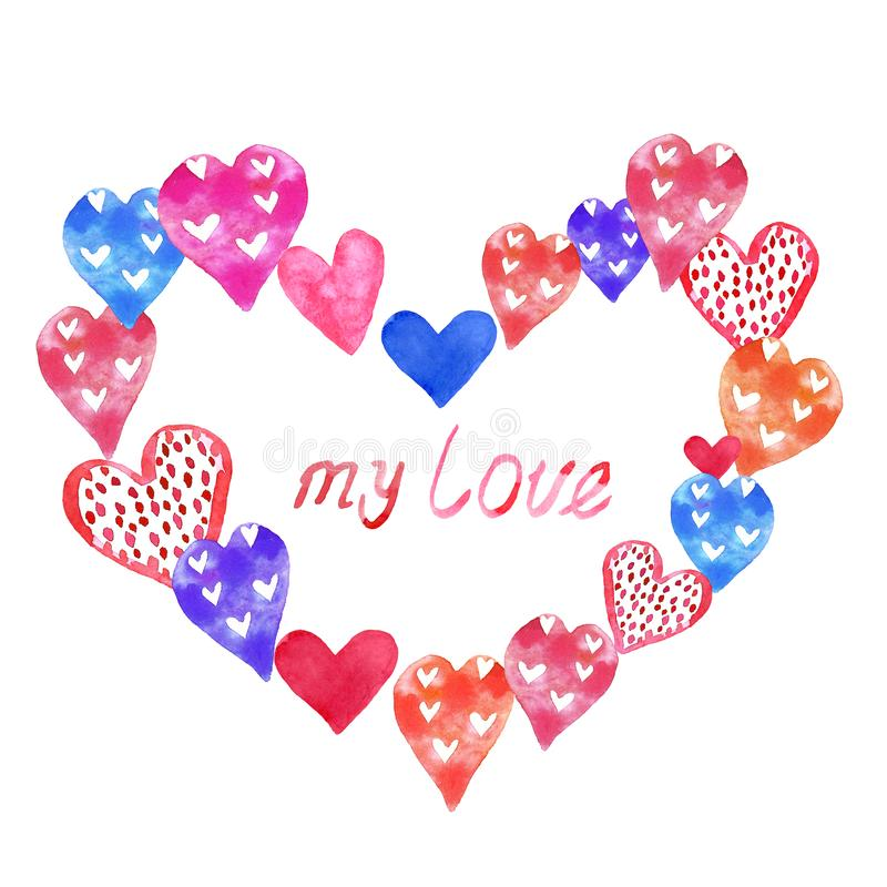 Valentin dagkort med hand målade färgrika hjärtor för vattenfärg och hand som märker text Gullig och härlig illustration royaltyfri illustrationer