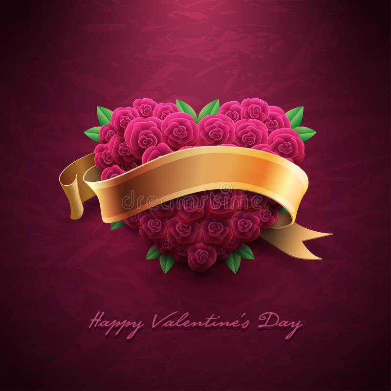 Valentin dagkort med ro royaltyfri illustrationer