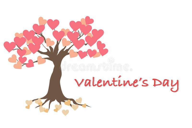 Valentin dagkort med trädet av förälskelse royaltyfri bild