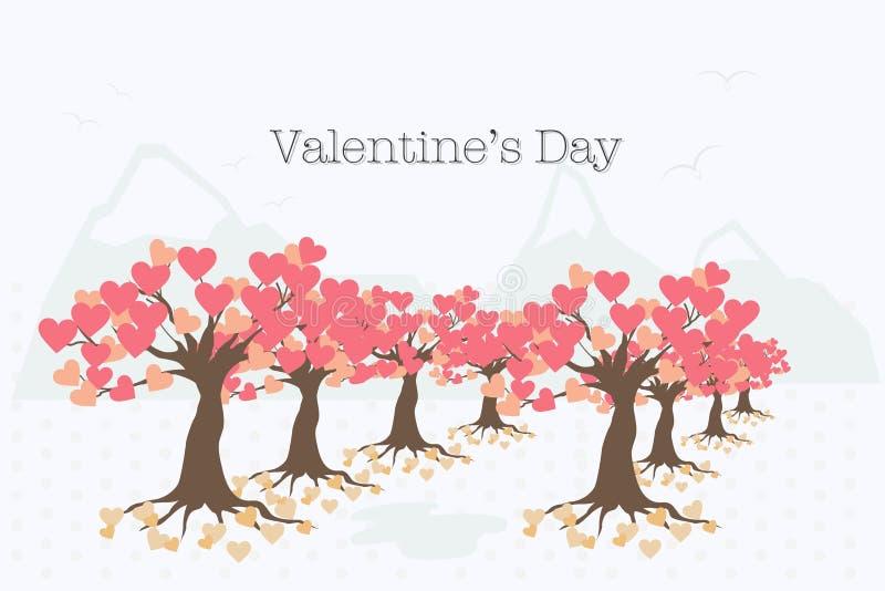 Valentin dagkort med trädet av förälskelse royaltyfri fotografi