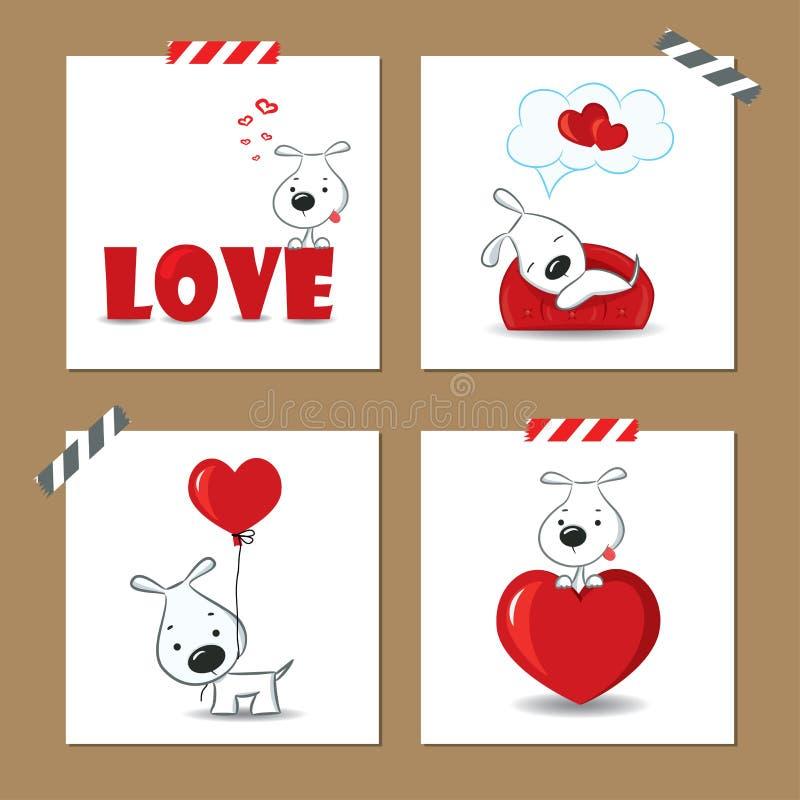 Valentin dagkort med valpen stock illustrationer