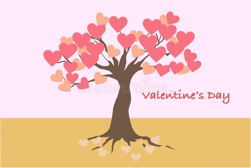 Valentin dagkort och baner med trädet av förälskelse royaltyfri fotografi