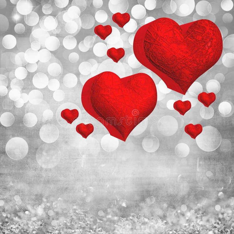 Valentin dagkortet med två röda 3D belägger med metall ljus bakgrund för hjärtor vektor illustrationer