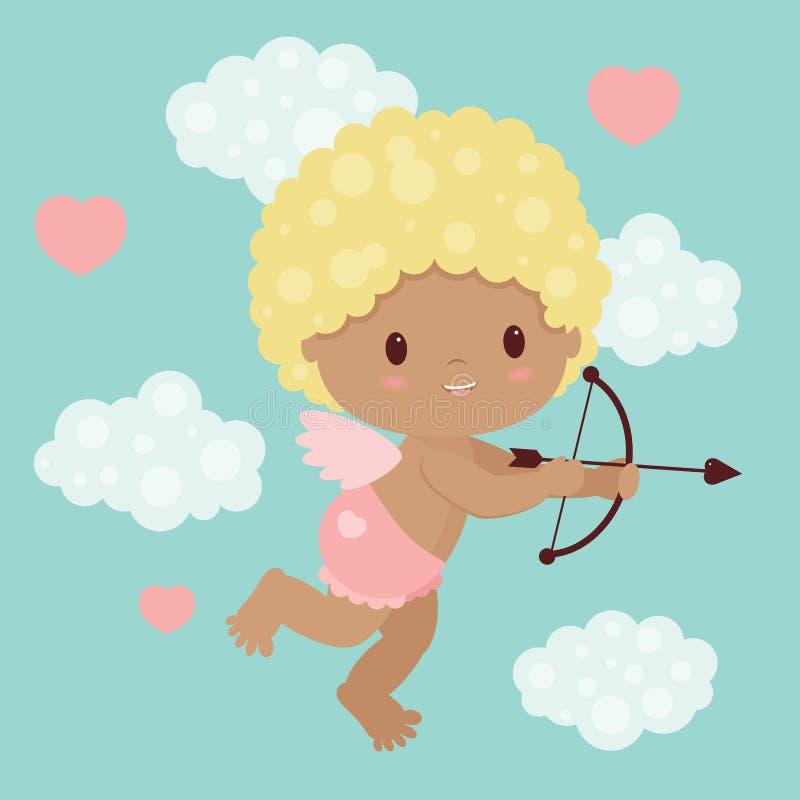 Valentin dagkupidon med pilbågen och pilen stock illustrationer