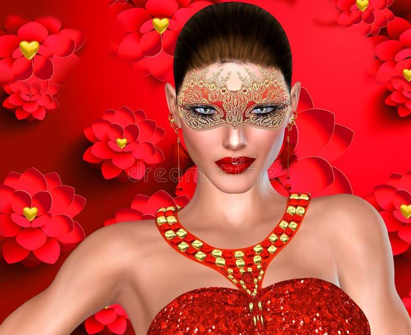 Valentin dagkvinna på blommabakgrund. royaltyfri illustrationer