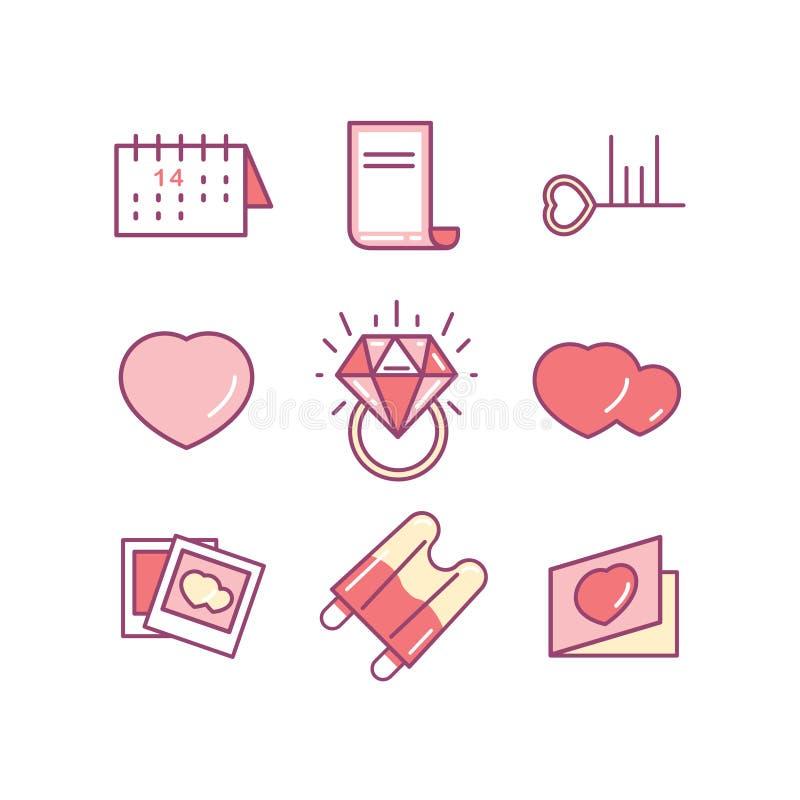 Valentin daglinje symbolsuppsättning Förälskelse som gifta sig romantiska symboler stock illustrationer