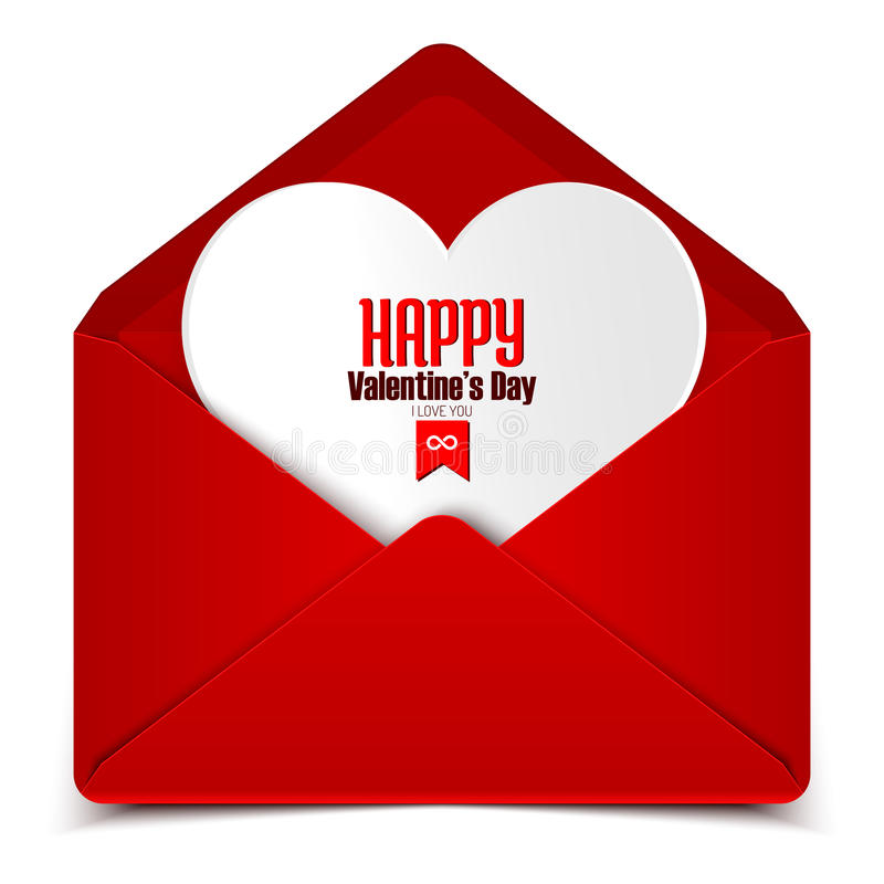 Valentin dagvykort, vektorillustration av det röda kuvertet med vit hjärta vektor illustrationer