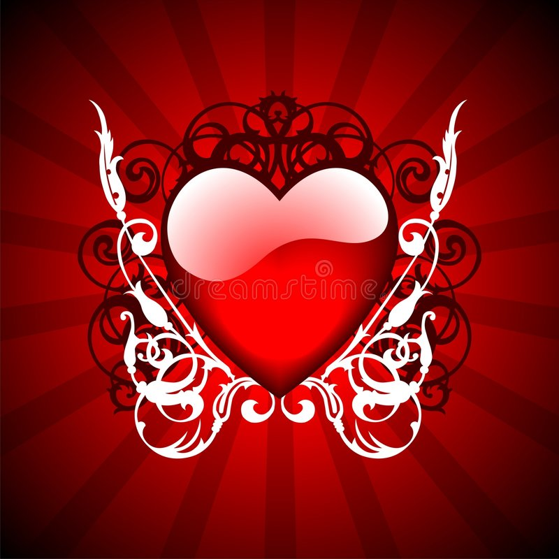 Valentin day illustration. With lovely hearth on red background vector illustration