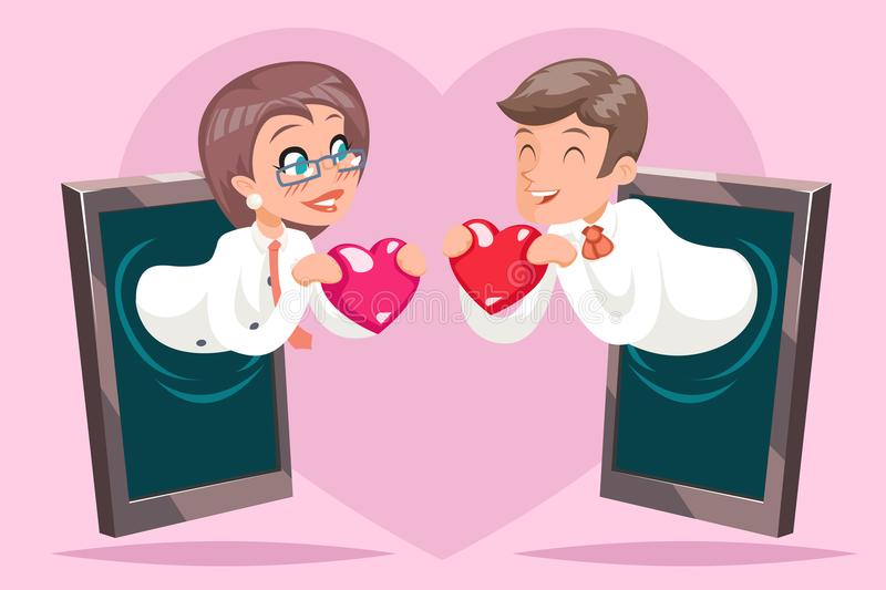 Valentin Day Internet Cute Happy Businesswoman Businessman Hold Greeting Love Heart Mobile Phone Background Cartoon. Valentin Day Internet Cute Happy stock illustration