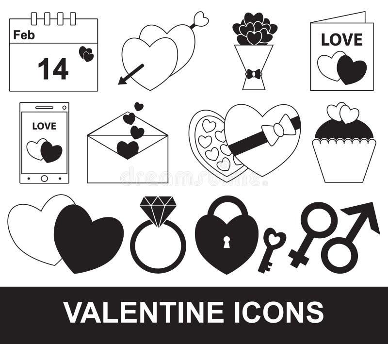 Valentin- eller valentindaguppsättning, packe eller samling stock illustrationer