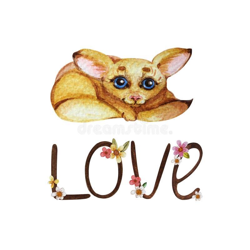 """Valentin ett dagkort med ord""""Love""""en och en gullig fenekräv royaltyfri illustrationer"""