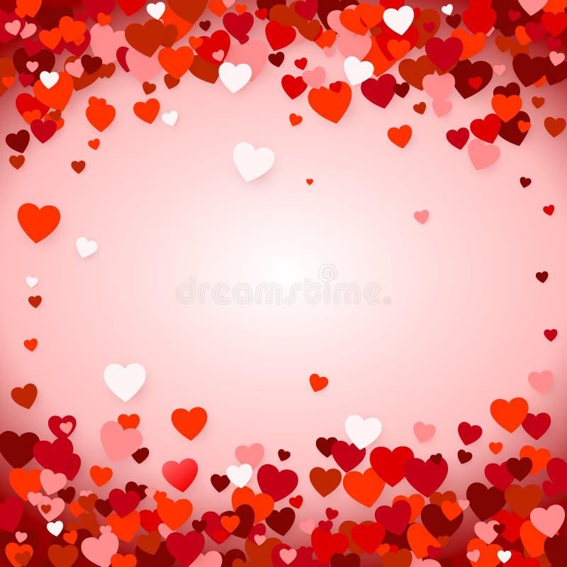 valentin för bakgrundsdaghjärtor s Feriegarneringbeståndsdel - röda hjärtor på rosa bakgrund också vektor för coreldrawillustrati stock illustrationer