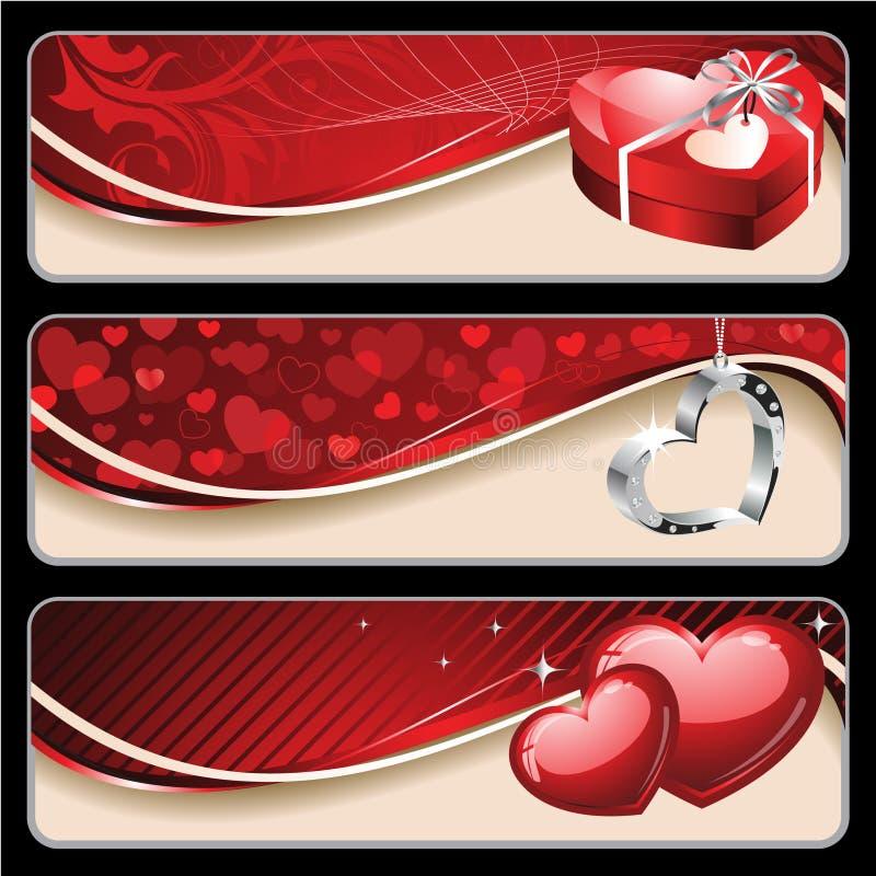 valentin för baner s royaltyfri illustrationer