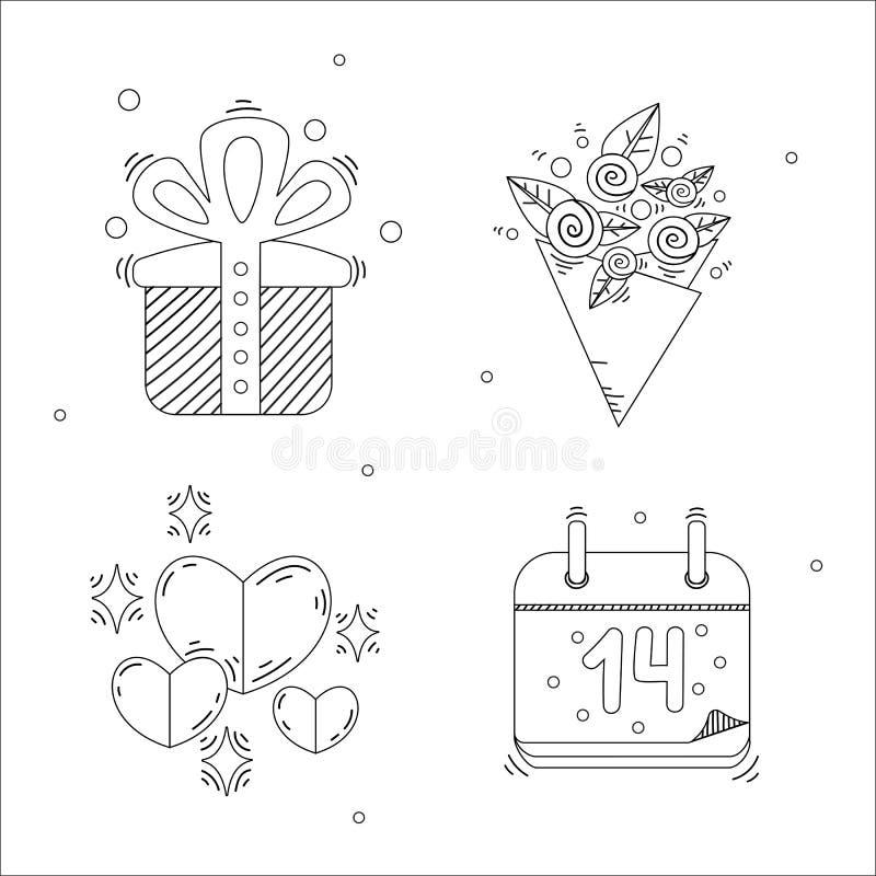 Valentin för ferie stilfulla linjära symboler för dag royaltyfri bild