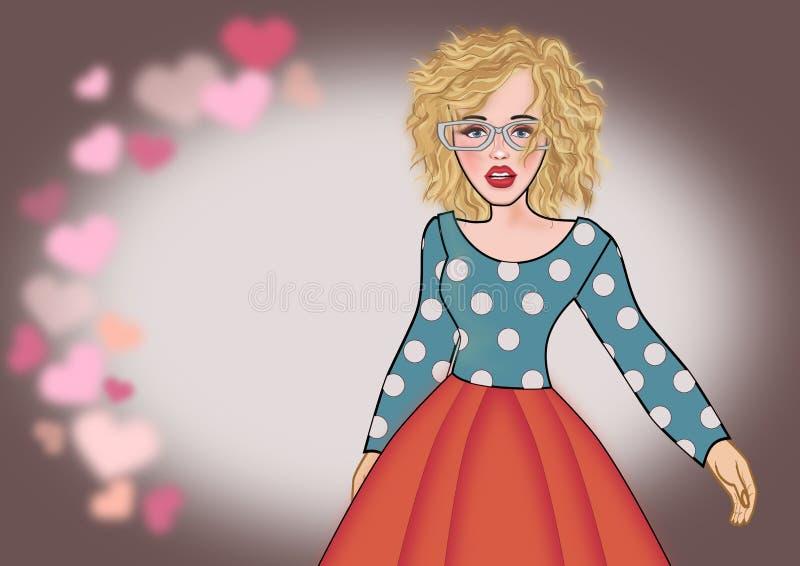 Valentin för flicka för popkonst vektor illustrationer