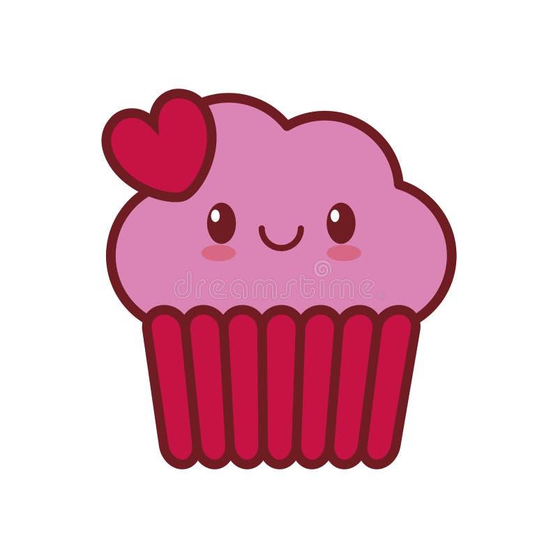valentin för hjärta för kaka för kawaiiförälskelsekopp vektor illustrationer