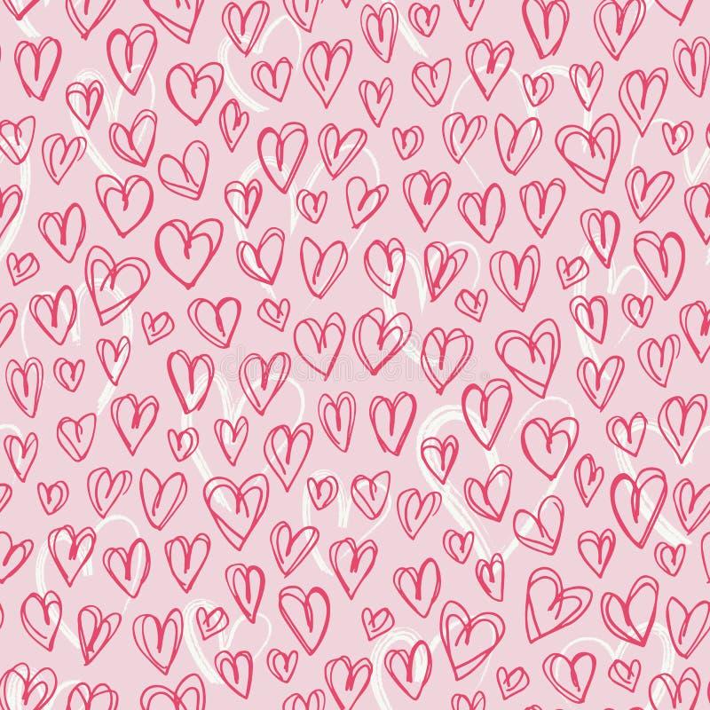 Valentin för hjärtor för klotter för hand sömlös modell för utdragen röd vektor för dag Gullig Graffity rosa bakgrund stock illustrationer