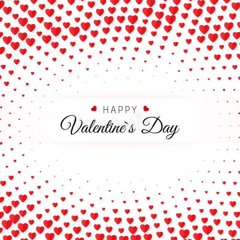 valentin för kortdaghälsning s Röd hjärta för rastrerade konfettier på vit bakgrund med lycklig valentindag för text stock illustrationer