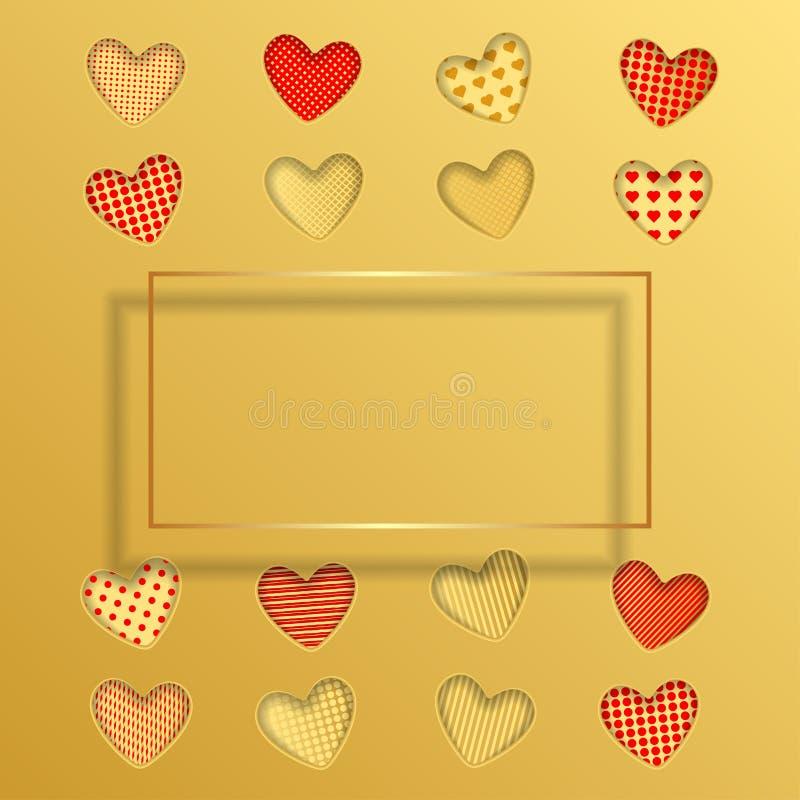 valentin för kortdaghälsning s Röda och guld- pappers- hjärtor stock illustrationer