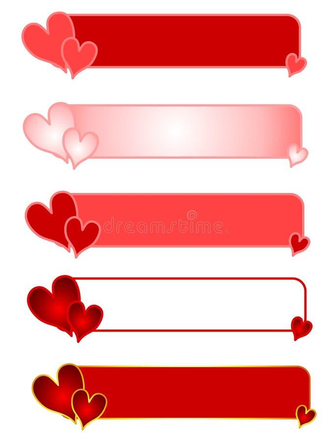 valentin för logoer s för banerdaghjärta vektor illustrationer