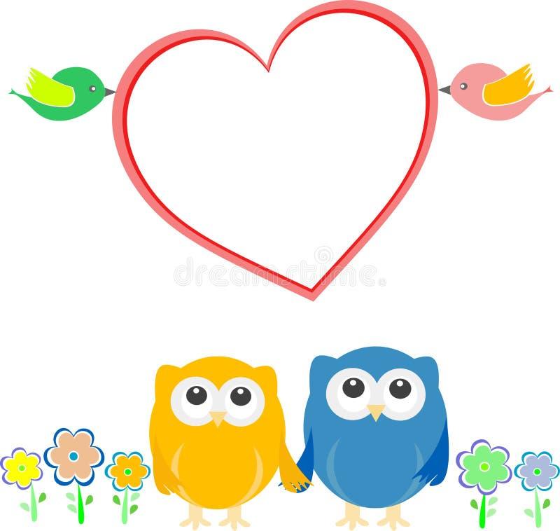 valentin för owls för hjärta för fågelkortpar stock illustrationer