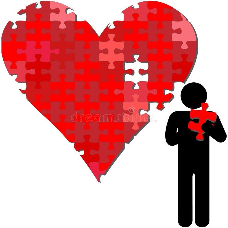 valentin för pussel för stycke för armhjärtaperson stock illustrationer