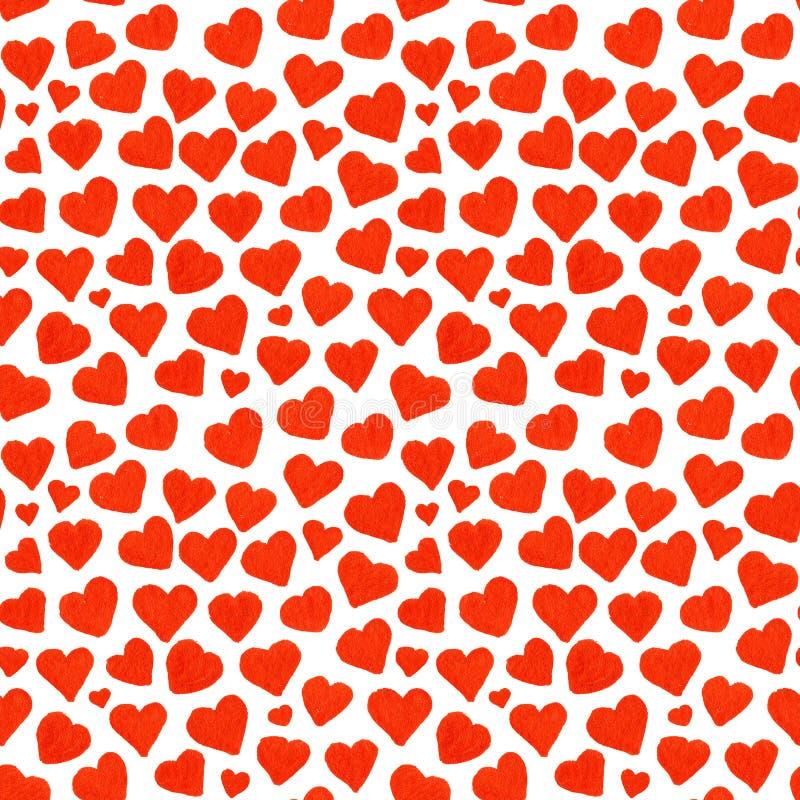 Valentin för röda hjärtor för vattenfärg Sankt sömlös modell för dag vektor illustrationer